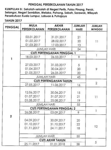 Jadual takwim persekolahan tahun 2017.