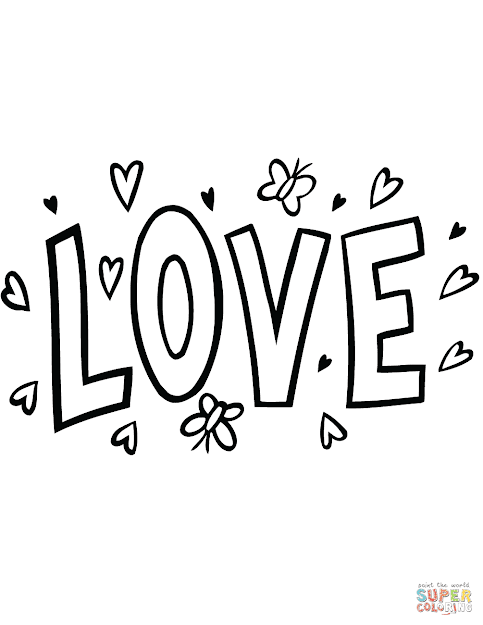 Click The Love Word Art Coloring Pages