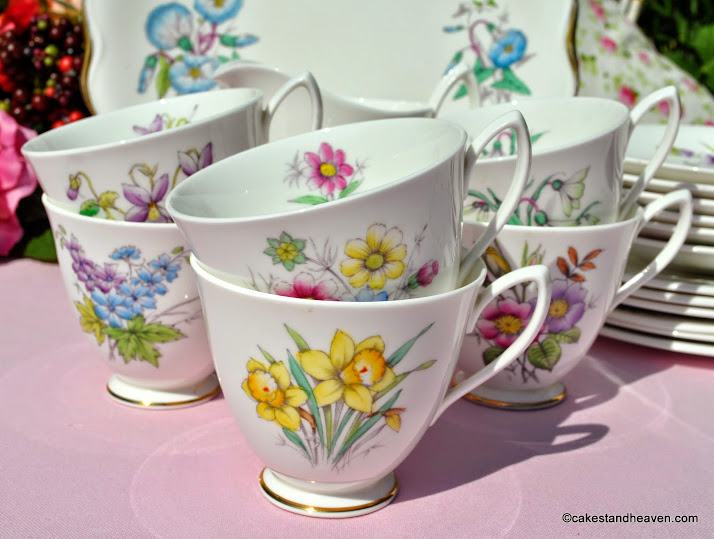 Flower of the Month 1950s Vintage Tea Set