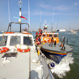 Poole Tyne class lifeboat coming alongside a 'casualty' vessel in Poole Harbour Photo: RNLI Poole/Dave Riley