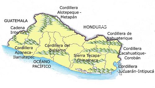 Mapa de El Salvador con sus cordilleras