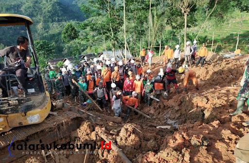 Proses Pencarian Korban Longsor Cisolok Sukabumi / Foto : Isep Panji (4/1/2019)