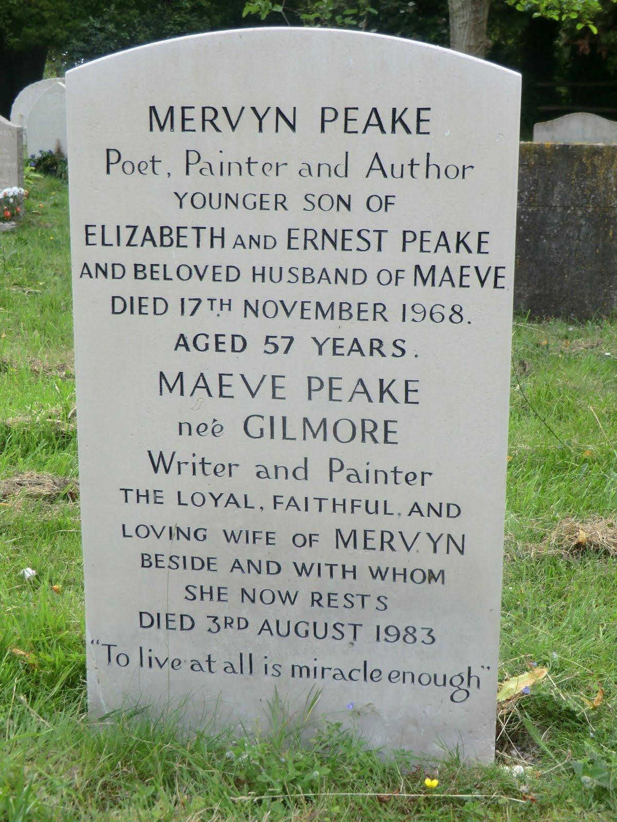 "CIMG8851 ""Gormenghast"" author's gravestone, Burpham"