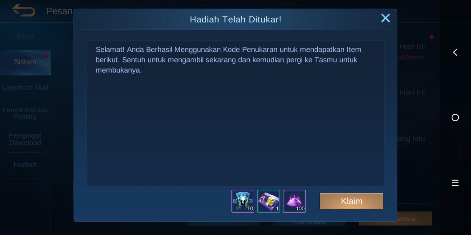 Kode Redeem Hadiah Mobile Legends Terbaru