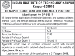 IIT Kanpur Advertisement 2018 www.indgovtjobs.in