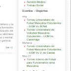Listado de eventos en la barra lateral