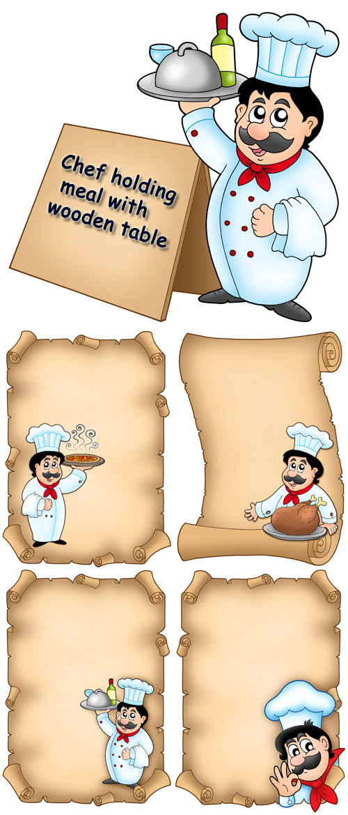 Stock Photo: Chef holding meal with wooden table