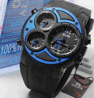 jam tangan Alfa originalb7 047 black rubber blue