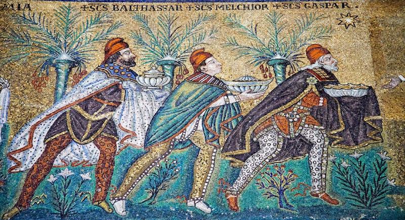 55. The Three Magi. Mosaic. VI century. The Basilica of Sant' Appolinare Nuovo. Ravenna. 2013
