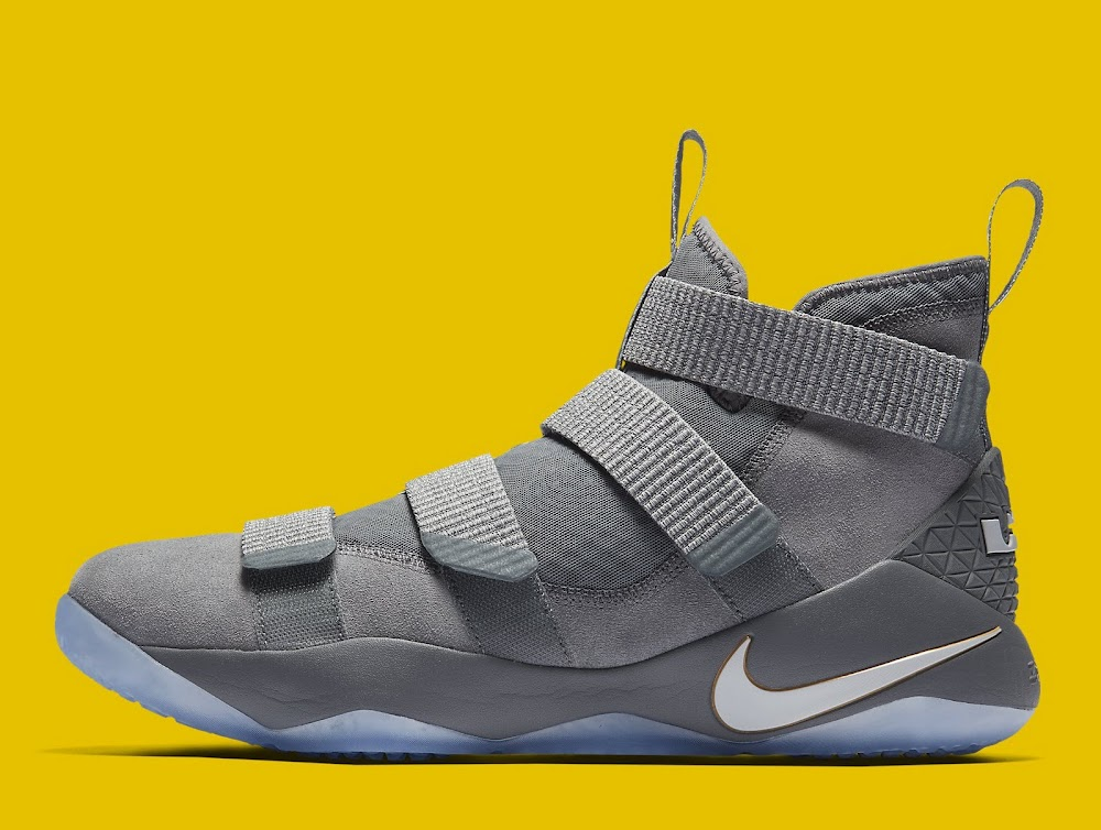 Available Now  LeBron Soldier 11 Cool Grey With a Touch of Gold ... c0b2a8560