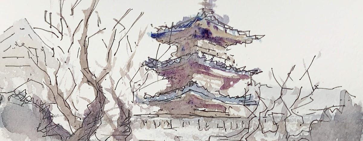 水彩スケッチ 京都 清水寺