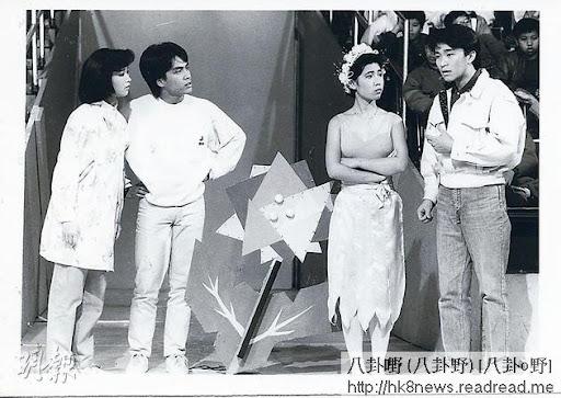 昔日譚玉瑛(左起)、龍炳基、黎芷珊及周星馳主持《430穿梭機》。(資料圖片)
