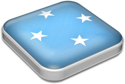 Flag of Micronesia with metallic square frame
