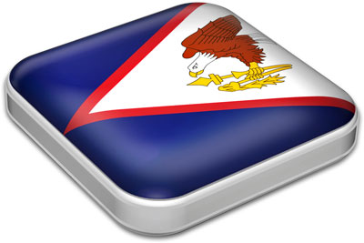 Flag of American Samoa with metallic square frame
