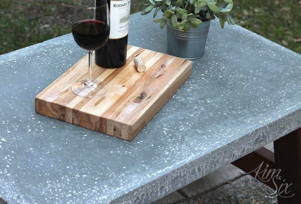 Concrete coffee table top with white inclusions