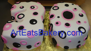 3D cut out numbers custom designed 30th birthday cake with pink and black circles and polka dots