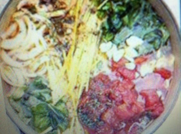 Place pasta, tomatoes, onion, garlic, basil, in a large stock pot. Pour in vegetable...