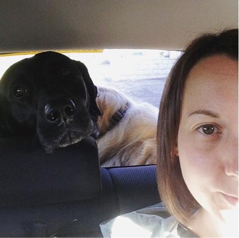 Selfie with black lab