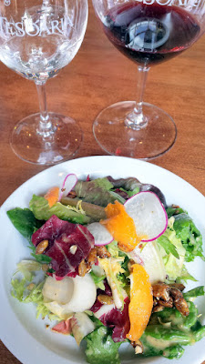 TeSóAria Vegan Brunch 1st course Chicory Salad with Roasted Apricot Vinaigrette and croutons paired with 2015 Vermentino Secco and 2014 Field Blend #1