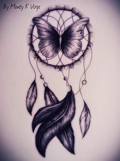 Happy birthday Papillon  et VapeAdomicile Dreamcatcher-tattoo-drawings-2