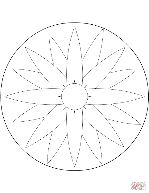 Click The Easy Mandala With Flower Coloring Pages