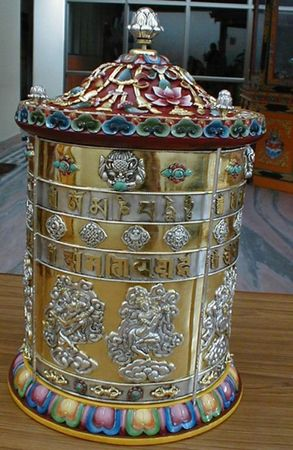 A prayer wheel of Lama Zopa Rinpoche's.