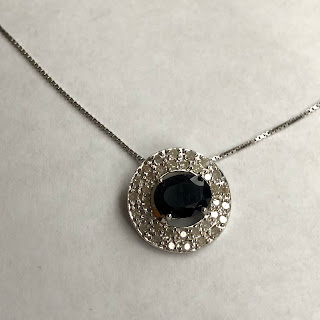 Sterling Silver & Black Stone Pendant Necklace
