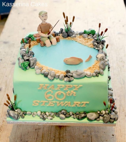 Incredible Kasserina Fishing Cake For 60Th Birthday Party July 2016 Funny Birthday Cards Online Elaedamsfinfo