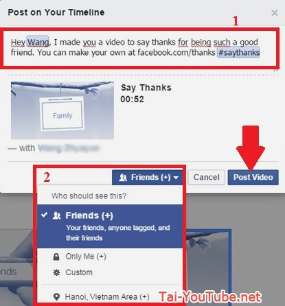 Hình 8 - Cách tạo video cảm ơn bạn trên Facebook