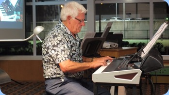 Rod Moffat playing his new Korg Pa4X (76 note version). Photo courtesy of Dennis Lyons.