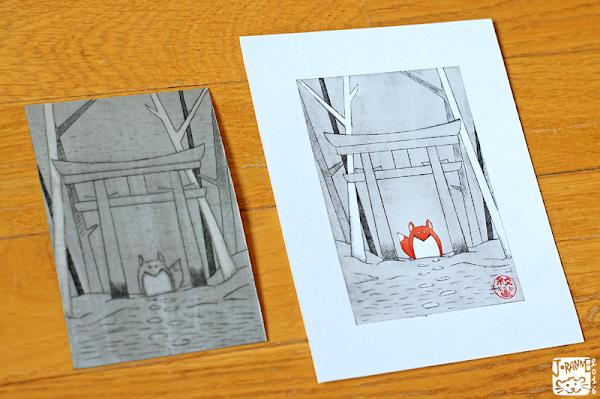 Image d'un kitsune sous un torii avec la technique du Tetra-Print, de la gravure sur Tetra Pak et plaque de Tetra Brick gravée