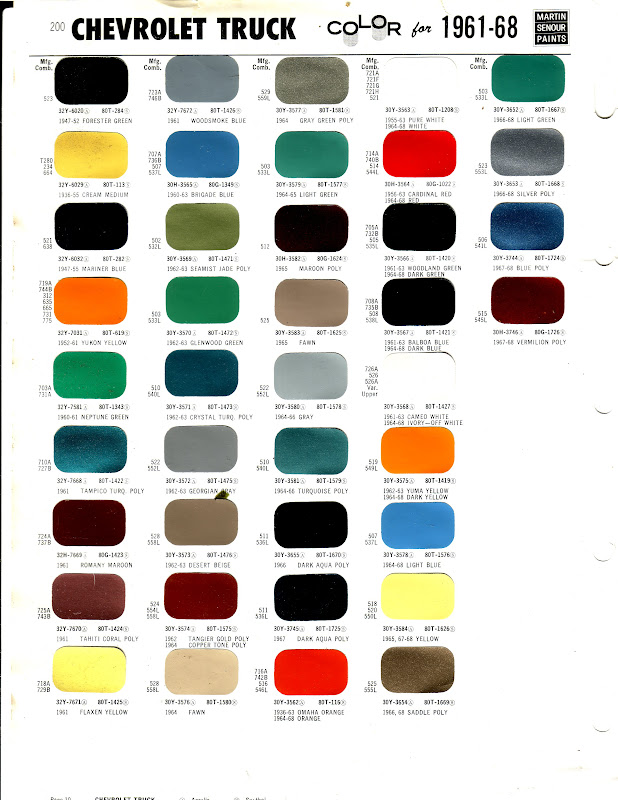 1962 Corvette Paint Color Chip Sheets A 182 together with Modern Paint Colors From 1956 in addition 2018 Gmc Paint Codes in addition Plasticolor Sideless Vinyl Seat Cover With Ram Logo PRD35734 furthermore Rc Ford Pocket Fender Flares F F21111c. on 2003 chevrolet color chips
