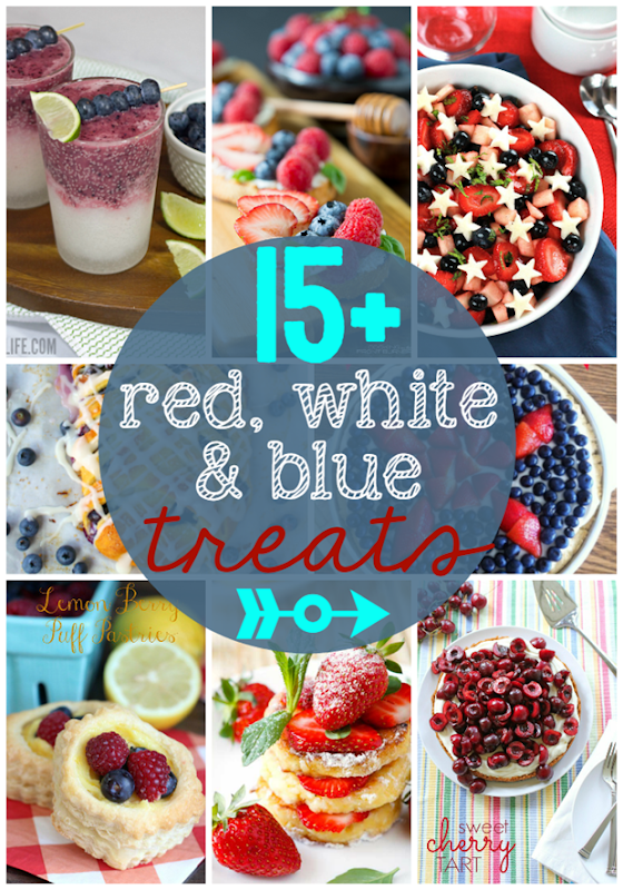15 Red, White & Blue Treats at GingerSnapCrafts.com #redwhiteandblue #treats
