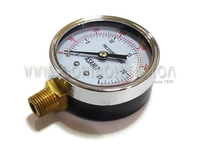 เกจ์วัดแรงดันแก๊ส ( HIGH PRESSURE GAUGE ) ASAHIT 25 kg./cm2