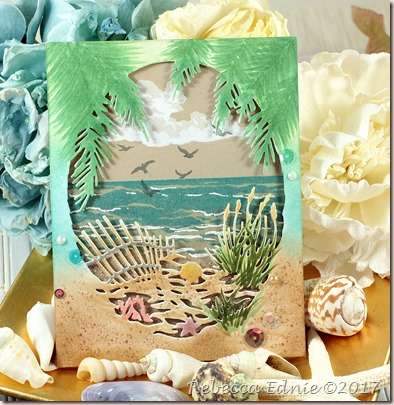 kraft beach fancy frame card