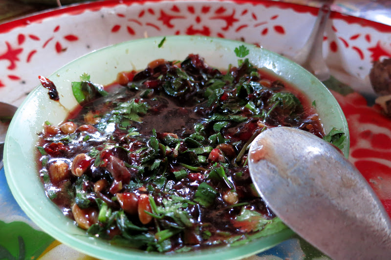 Congealed chicken blood with peanuts, chili and cilantro