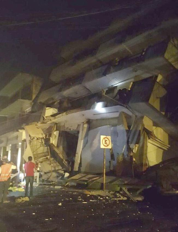A handout photo made available by the Mexican government show a collapsed building in Matias Romero, Oaxaca, after the Chiapas earthquake on 7 September 2017. Photo: Government of Mexico