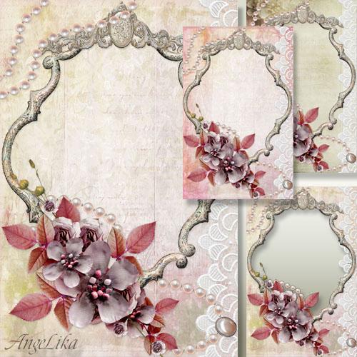 Винтажная фоторамка - Цветы, жемчужное ожерелье и кружево