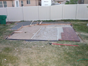 Photo: well the progress on the backyard.   54 bags of 80 lb concrete.  done and so am I.