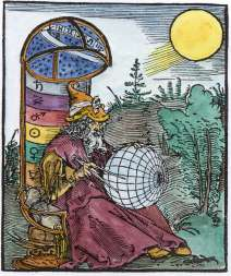 Woodcut On Title Page Of Messahalah De Scientia Motus Orbis Nuremberg, Emblems Related To Alchemy