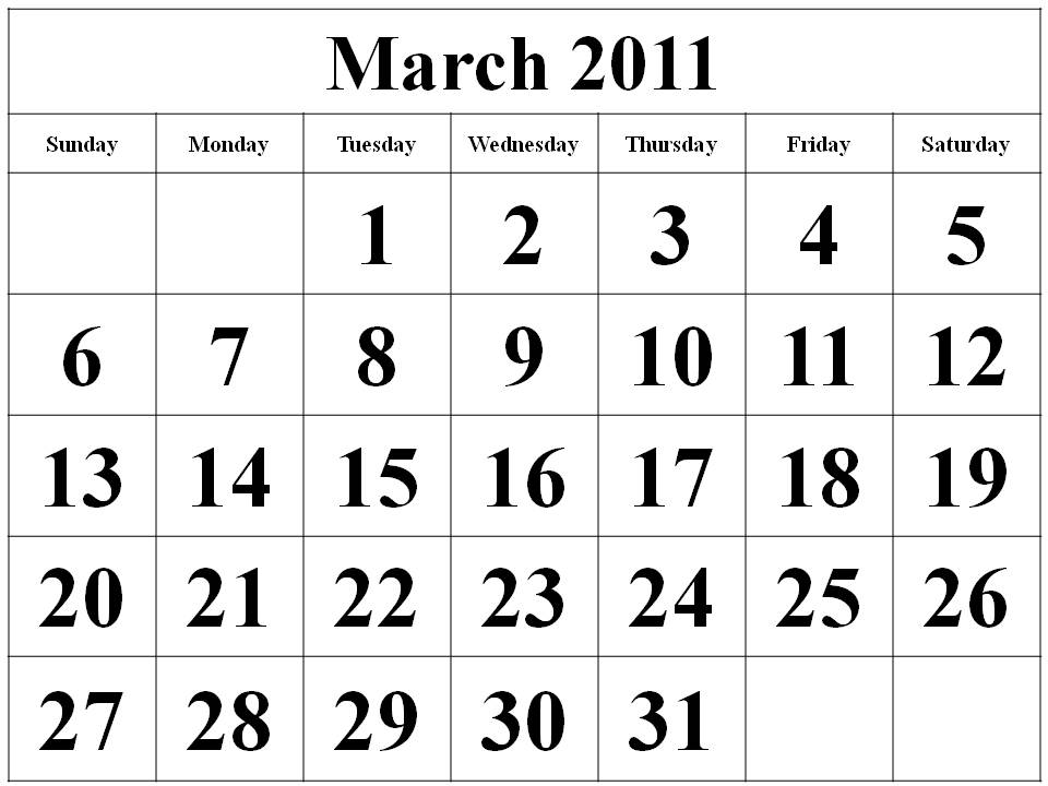 2011 monthly calendar march. Notebook or mar march