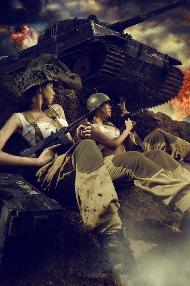 Ảnh cô gái chiến đấu trên chiến trường