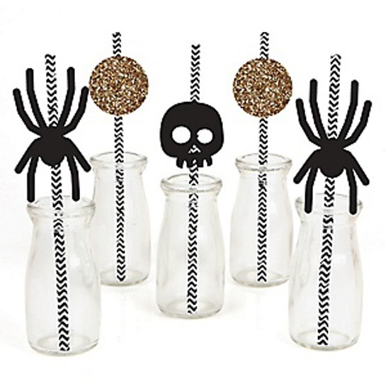 Black-And-Gold-Halloween-Straw-Decoration-Kit-Alt-2