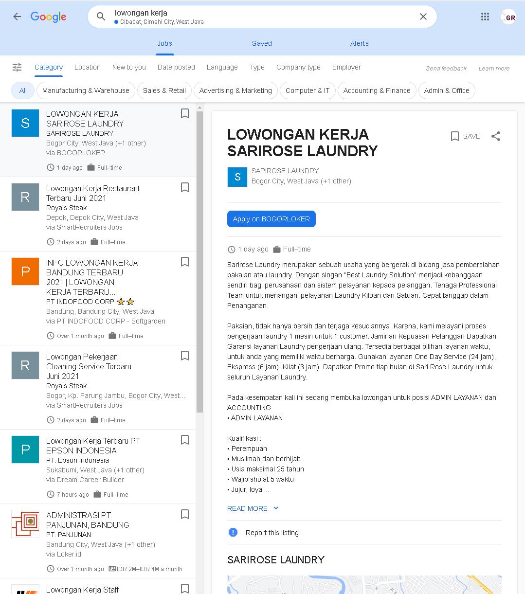 Mencari Lowongan Pekerjaan di Google
