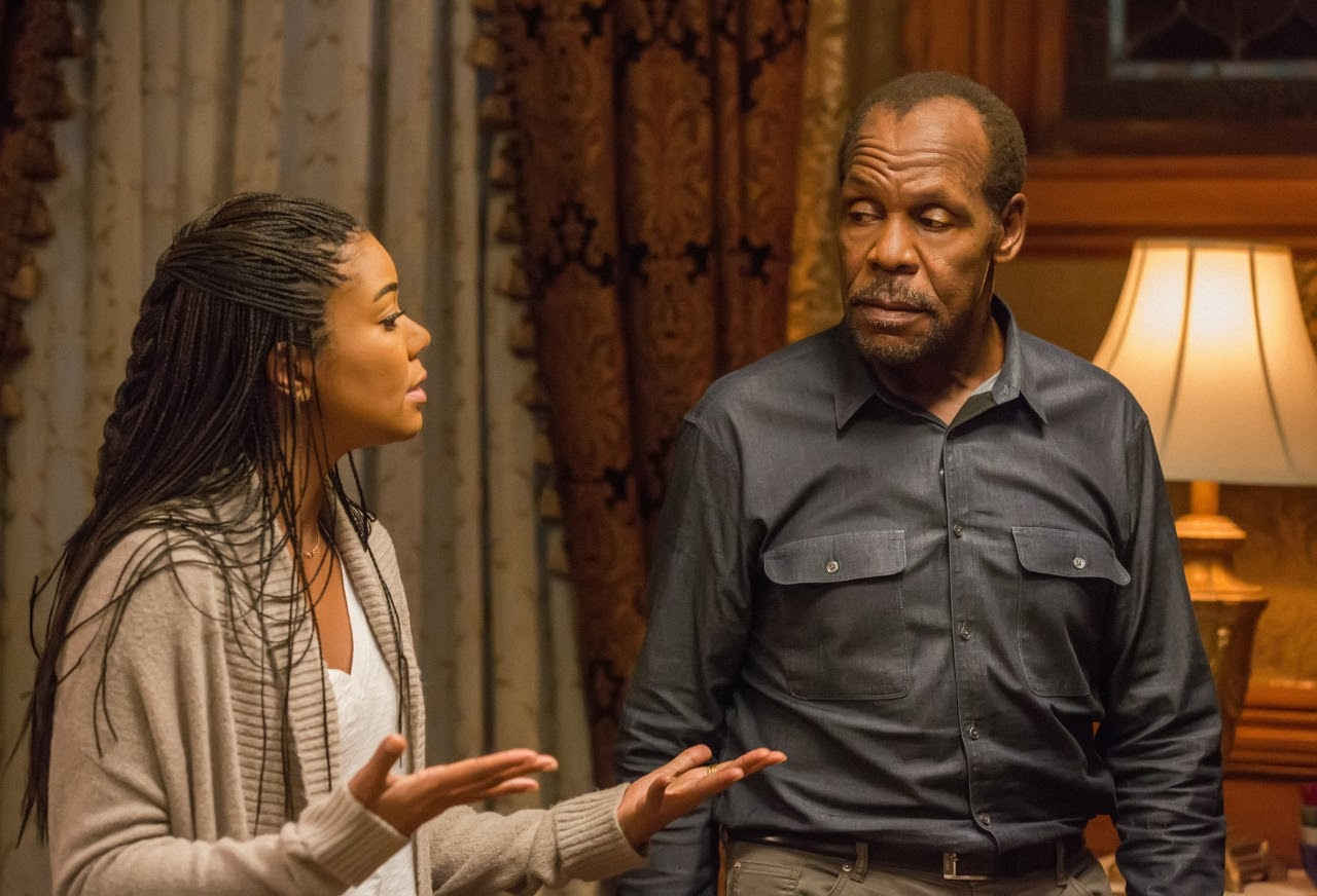 Gabrielle Union and Danny Glover in ALMOST CHRISTMAS. (Photo by Quantrell D. Colbert / courtesy of Universal Pictures).