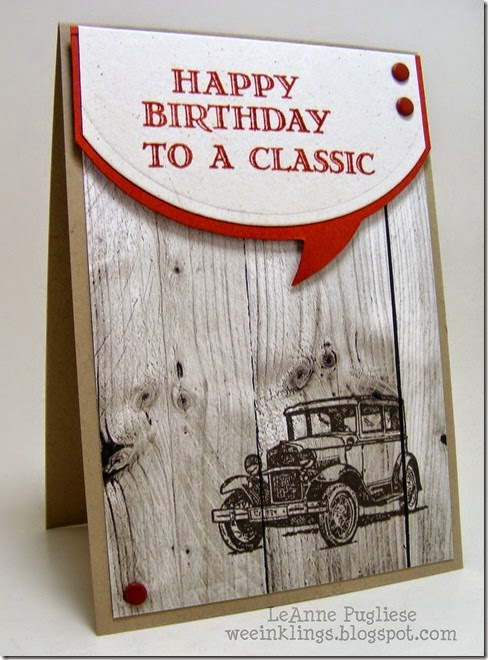 LeAnne Pugliese WeeInklings Guy Greetings Classic Car Birthday Stampin Up