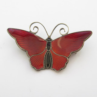 Sterling Silver & Enamel Butterfly Brooch