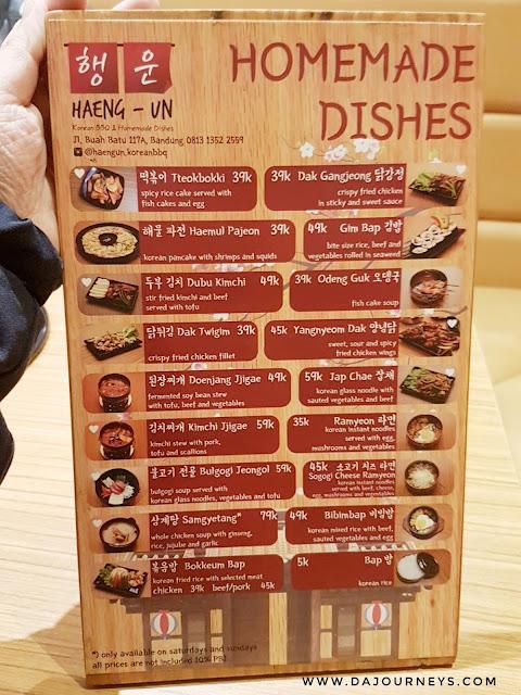 Menu Haeng-Un Korean BBQ Bandung