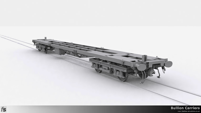 Fastline Simulation - Bullion Carriers: View of the bullion container flat showing the B4 bogie and shroud around the lamp iron to prevent the oil tail lamp being blown out by the air flow when travelling at speed.