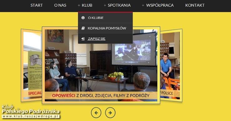 Menu górne z informacjami o Klubie Polskiego Podróżnika